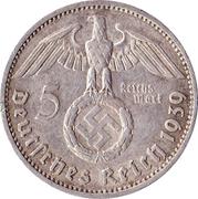 5 reichsmark (Paul von Hindenburg) – avers