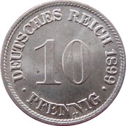 10 pfennig - Wilhelm II (type 2 - grand aigle) – revers