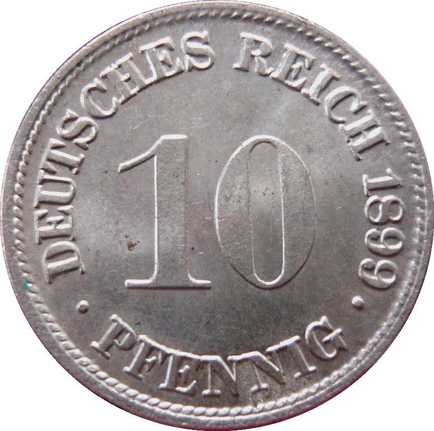 10 Pfennig Wilhelm Ii Type 2 Grand Aigle Allemagne 1871