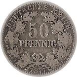 50 pfennig - Wilhelm I (type 1 - petit aigle) – revers