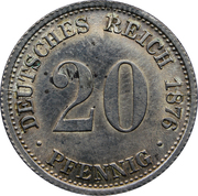 20 pfennig - Wilhelm I (type 1 - petit aigle) – revers