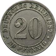 20 pfennig - Wilhelm I (petit aigle) – revers