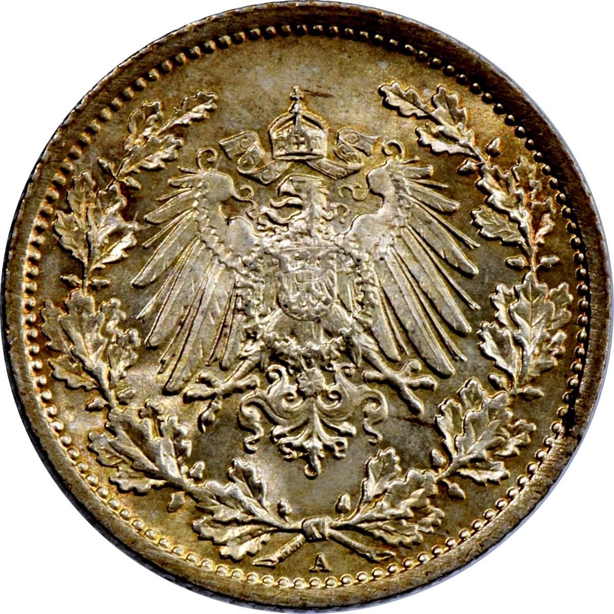 ½ Mark Wilhelm Ii Allemagne 1871 1948 Numista