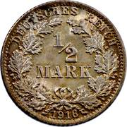 ½ mark - Wilhelm II -  revers