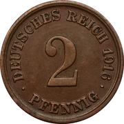 2 pfennig - Wilhelm II (type 2 - grand aigle) -  revers