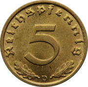5 reichspfennig (bronze-aluminium) – revers