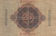 20 Mark Reichsbanknote – revers
