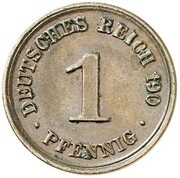1 Pfennig - Wilhelm II (type 2 - small shield - Pattern) – revers
