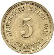 5 Pfennig - Wilhelm II (type 2 - small shield - Pattern) – revers