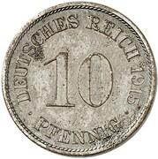 10 Pfennig - Wilhelm II (type 2 - small shield - Pattern) – revers