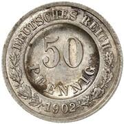 50 Pfennig - Wilhelm II (type 2 - small shield - Pattern) -  avers