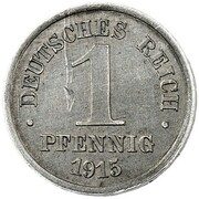 1 Pfennig - Wilhelm II (type 1 - large shield - Pattern) – revers