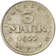 3 Mark (Weimar Constitution - Pattern) – revers