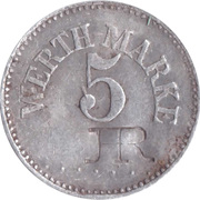 5 Pfennig (Werth-Marke; Aluminium; Contremarque) – avers