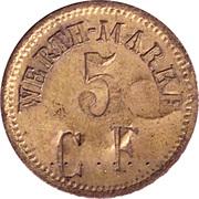 5 Pfennig (Werth-Marke; Brass; 18.0 mm; Couintermarked with Number) – avers