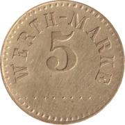 5 Pfennig (Werth-Marke; Brass; 18.2 mm; Large '5') – avers