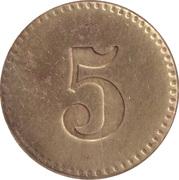 5 Pfennig (Werth-Marke; Brass; 18.2 mm; Large '5') – revers