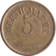 5 Pfennig (Werth-Marke; Brass; 18.0 mm; Small '5') – avers