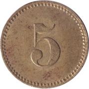 5 Pfennig (Werth-Marke; Brass; 18.0 mm; Small '5') – revers