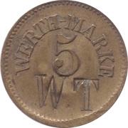5 Pfennig (Werth-Marke; Brass; 18.0 mm; Couintermarked) – avers