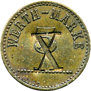 5 Pfennig (Werth-Marke; Brass; 18.0 mm; underlined '5'; Couintermarked) – avers