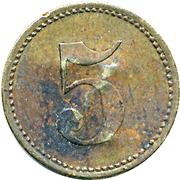 5 Pfennig (Werth-Marke; Brass; 18.0 mm; underlined '5'; Couintermarked) – revers