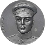 Medal - Death of flying ace Oswald Bölcke – avers