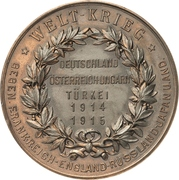 Medal - Alliance of Germany with Austria/Hungary and Turkey, Grossadmiral von Tirpitz – revers