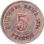5 Pfennig - Wilhelm I (type 1 - large shield - Pattern) – revers