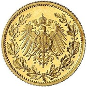 ½ Mark - Wilhelm II (type 2 - small shield - Pattern) – avers