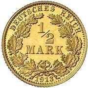 ½ Mark - Wilhelm II (type 2 - small shield - Pattern) – revers