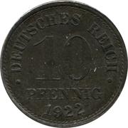 10 pfennig - Wilhelm II (type 2 - grand aigle entouré de points, fer) -  revers