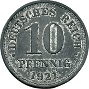 10 pfennig - Wilhelm II (type 2 - grand aigle, sans atelier) -  revers