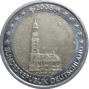 2 euros Hambourg – avers