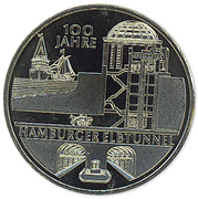 10 euros Vieux tunnel sous l'Elbe (cupronickel) – revers