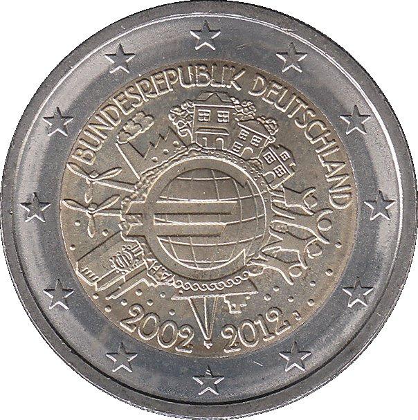 2 Euros Introduction De Leuro 10 Ans Allemagne République