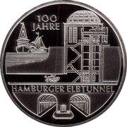 10 euros Vieux tunnel sous l'Elbe (argent) – revers