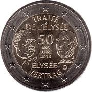 2 euros Traité de l'Élysée -  avers