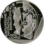 10 euros Bibliothèque nationale allemande (argent) – revers