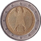2 euros (1ère carte) – avers