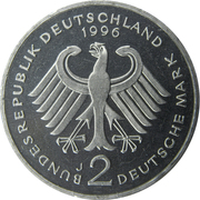 2 deutsche mark Ludwig Erhard -  avers