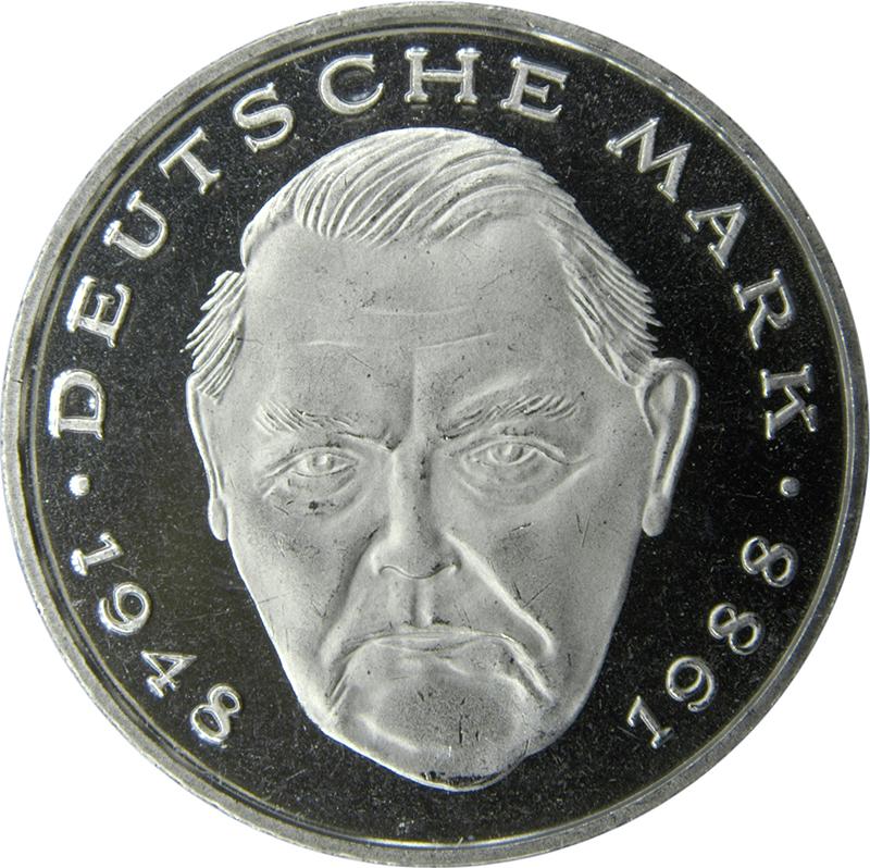 2 Deutsche Mark Ludwig Erhard Allemagne République Fédérale