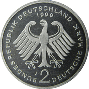 2 deutsche mark Franz Josef Strauss – avers