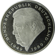 2 deutsche mark Franz Josef Strauss – revers
