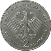 2 deutsche mark (Kurt Schumacher) – avers