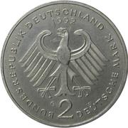 2 deutsche mark Kurt Schumacher -  avers