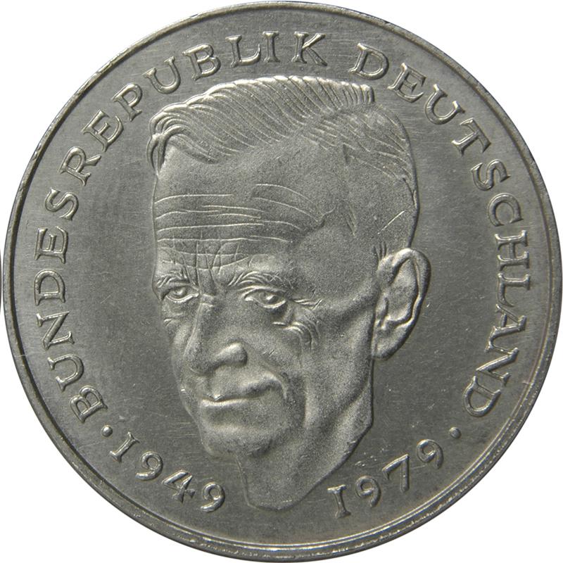 2 Deutsche Mark Kurt Schumacher Allemagne République Fédérale