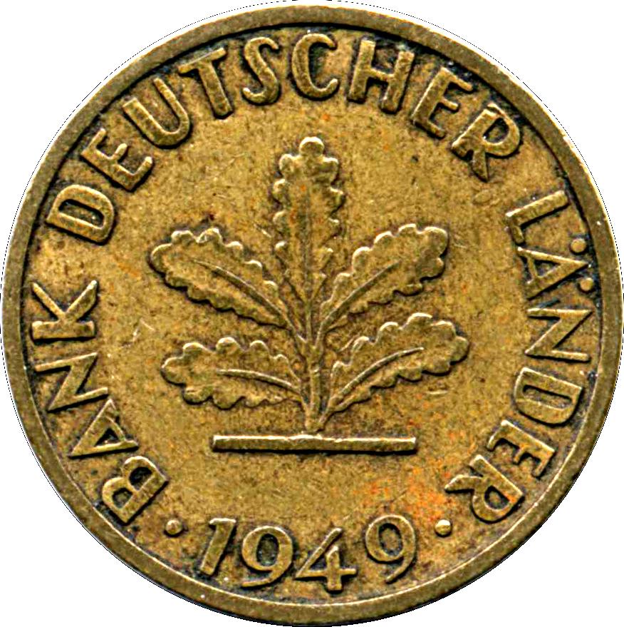 5 Pfennig Bank Deutscher Länder Allemagne République Fédérale