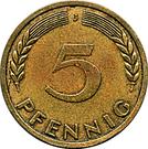 5 pfennig (Bank Deutscher Länder) – revers