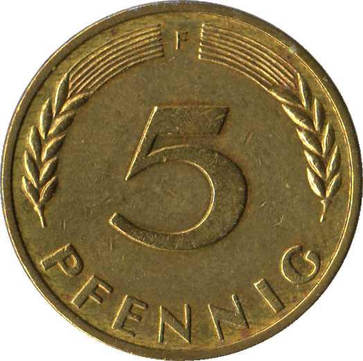 5 Pfennig Bundesrepublik Deutschland Allemagne République